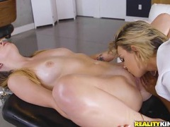Masseuse licks the mound of her sexy client videos