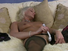 Blonde granny babe and her vibrator play solo videos