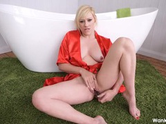 Red satin robe on a dildo fucking blonde cutie movies