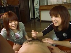 Subtitled japanese cfnm femdom duo with handjob cumshot videos