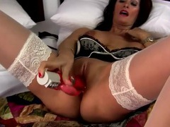 White lace top stockings are sexy on a dildo fucking milf videos