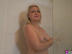 Spy on the curvy girl with a bush as she showers movies at adspics.com