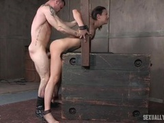 Skinny slave in his dungeon to get laid clip