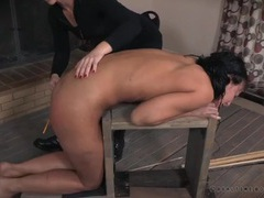Caning her ass as the girl cries in pain tubes
