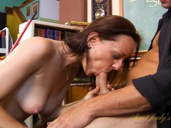 Janitor gets his cock sucked by a beautiful teacher movies at freekilosex.com