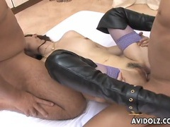 Double teamed asian pornstar in sexy leather boots tubes at chinese.sgirls.net