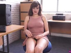 Nipples poke through the tight dress of a secretary tubes