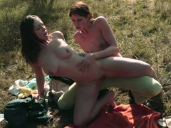 Strapon fucking on a picnic with a sweet lesbian couple tubes