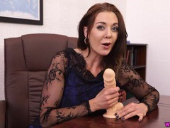 Sexy dick stroking lessons from a beauty with a dildo videos