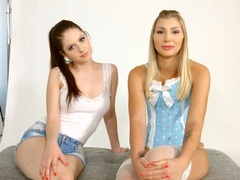 Beautiful girls chat before their lesbian scene movies at adspics.com