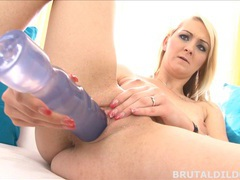 Russian blonde katerina gold inserts a big brutal dildo movies at adipics.com