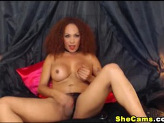 Big titty shemale redhead jerks off for her cam fans movies at sgirls.net