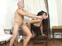 Shemale slut gets on her knees for an ass fucking videos