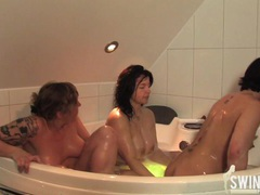 Milf swinger fun in the bathroom movies at sgirls.net