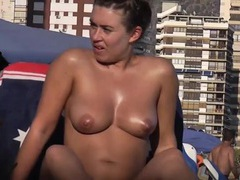 Tanning oil makes her naked tits look fantastic movies at nastyadult.info