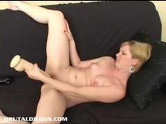 Horny blonde jacinda fills her pussy with a huge dildo tubes