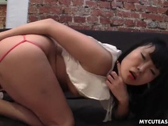 Naughty asian girl fucks her ass with a toy tubes at asian.sgirls.net