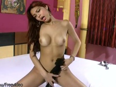 Skinny tgirl with gorgeous titties jerks off lustily videos