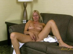 Naked blonde milf chats as she plays with her pussy movies at lingerie-mania.com