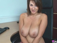 Hottie at her desk shows her beautiful big breasts movies at find-best-hardcore.com