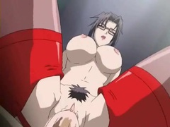 Huge tits hentai babe makes multiple guys cum videos