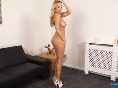 Heels and a hot dress look good on a british stripper movies at freekiloclips.com