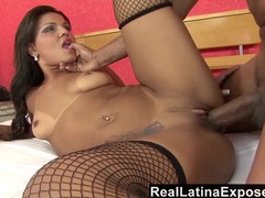 Latina looks hot taking cock in her fishnet stockings videos
