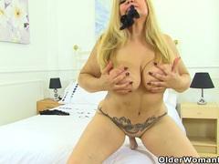 Spanish milf musa libertina stuffs her shaven pussy movies at lingerie-mania.com