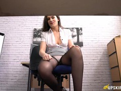 Under the desk staring at her secretary legs and stockings movies at sgirls.net