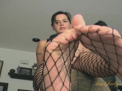 Freckled milf cutie is so sexy in fishnet pantyhose movies at kilosex.com