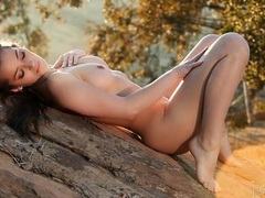 Hiking babe dani daniels strips as the sun sets videos