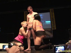 Threesome sex show on public stage tubes