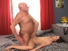 Skinny 18 year old on her back for grandpa cock tubes