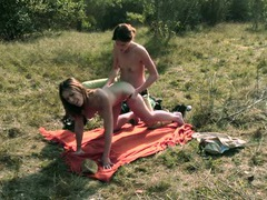 Strapon cock fucks her lesbian cunt on a picnic videos