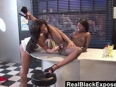 Black lesbian cunts are all wet in the diner movies at find-best-videos.com