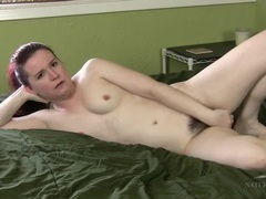 Amateur has her legs open and her hairy pussy on display videos