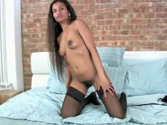 Seductress in black stockings has a hairy cunt movies at sgirls.net