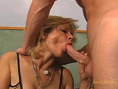 Old lady eats hard dick like a pro movies at lingerie-mania.com