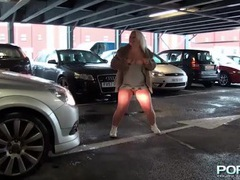 Chubby girl flashes her hot ass and titties in public tubes